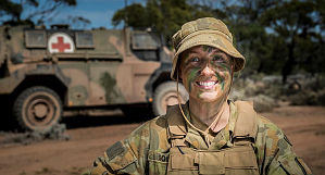 Australian Army medic Corporal Kelly Squires from 1st Close Health Battalion provides medical assistance during Exercise Predator's Gallop at Cultana training area, South Australia, on 8 March 2016.