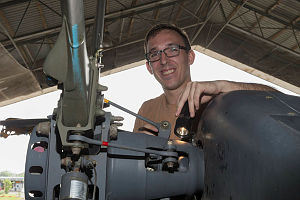 Australian Army Craftsman David Chadwick conducts a routine inspection of the tail rotor on an Australian Army Taipan MRH-90 helicopter.