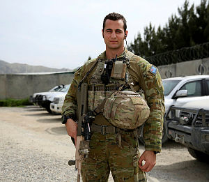 Australian Army solider Private Chris Di Florio is a member of the 8/9RAR Force Protection Element working in Kabul, protecting other Australian Defence Force personnel as they perform their jobs.