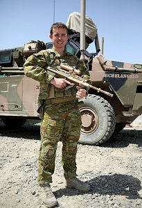 Australian Army soldier Private Nicholas Farallo is on his first overseas deployment in his job as an Army administration clerk.