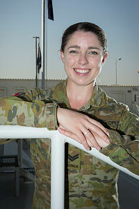 Air Task Group 630 Personnel Capability Specialist, Corporal Alisha Clarkson at Australia's main operating Air base in the Middle East Region.