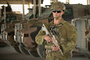 Australian Army soldier, Private Mark Eagling with Australian and Operation Highroad's Task Group Afghanistan at forward operating base Qargha outside of Kabul. Private Eagling is a force protection 'guardian angel'.