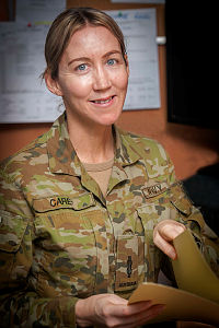 Royal Australian Navy sailor Able Seaman Natalie Carey from HMAS Creswell is currently deployed to the Middle East region. She works in the Joint Task Force 633 Headquarters at Camp Baird as an administration assistant.