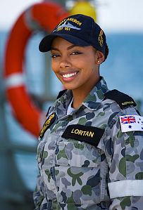 Seaman Maritime Logistics - Personnel Operations Jasmine Lortan stands on the flight deck of HMAS Arunta while on patrol in the Middle East Region.