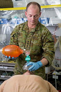 Australian Army officer Captain Brendon Russell of Task Group Taji 5 conducts resuscitation training at the Camp Taji Clinic located at the Taji Military Complex, Iraq.