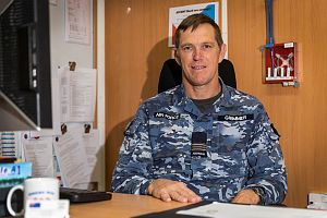 Expeditionary Airbase Operations Unit - 1 Executive Officer, Royal Australian Air Force Squadron Leader Steve Grimmer, in his office at Australia's main operating base in the Middle East region.