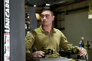 Private Jake Torsney, a storemen, is deployed Australia's main base in the Middle East region.