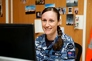 Royal Australia Air Force Corporal Kath Palfrey is a personnel capability specialist working as a travel clerk at Australia's main base in the Middle East.