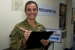 Corporal Natalie Gilbert is a psychological examiner deployed to Australia's main base in the Middle East.