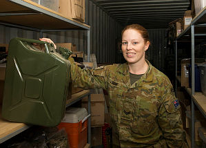 Corporal Zoe Livori is a quartermaster with Task Group Taji's Training Task Unit at Taji Military Complex, Iraq.