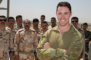 Australian Army officer Captain Lachlan McDonald, a Joint Forward Air Controller instructor with Task Group Taji – 6, with Iraqi Forward Air Controller students at Taji Military Complex, Iraq.