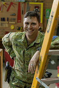 Australian Army Lance Corporal Daniel Grace runs the carpentry workshop as part of Task Group Taji – 6's Logistics Company Taji Military Complex, Iraq.