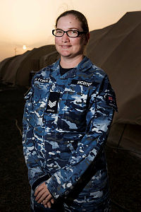 Sergeant Jennifer Sichter, who normally works in the orderly room at No. 38 Squadron in Townsville, is deployed on Operation Accordion with the Expeditionary Airbase Operations Unit to Australia's Air Task Group operations base in the Middle East.