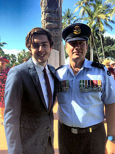 Royal Australian Air Force Flight Lieutenant Aaron Whittaker and son.