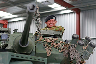 Corporal Marcelo Pullen is seen in the turret of a New Zealand Light Armoured Vehicle at Linton Military Camp, NZ.