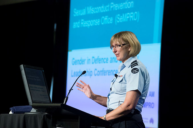AIRCDRE Kathryn Dunn addresses the Gender in Defence and Security Leadership Conference held in Canberra.